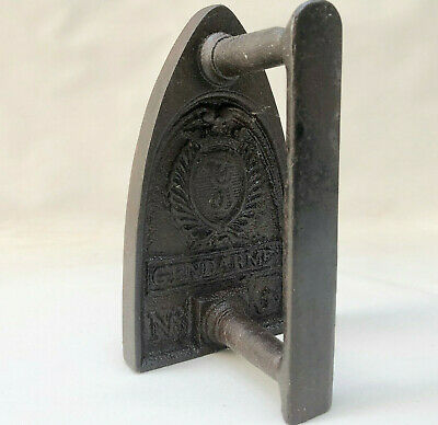 ANTIQUE FRENCH CAST IRON CLOTHES PRESSING IRON GENDARME No. 5,BOOKEND DOORSTOP