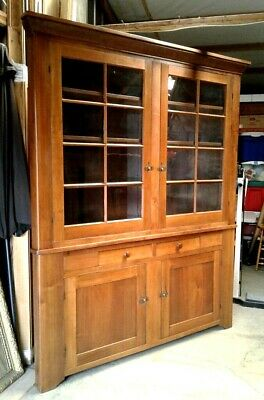 Antique Walnut 2 Piece Corner Cupboard Cabinet 16 Pane Top 1830 Era
