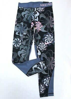Nike Pro Girls' Dri-Fit Floral Training Stretch Tight Fit Leggings Size M