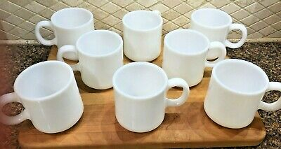 Vintage White Milk Glass Coffee Mug Cups Lot of 8 EC
