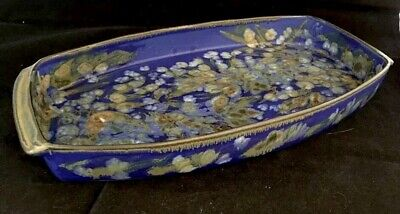 Gorgeous Studio Art Pottery Tray In Arts Crafts/Mission Style royal blue Danish