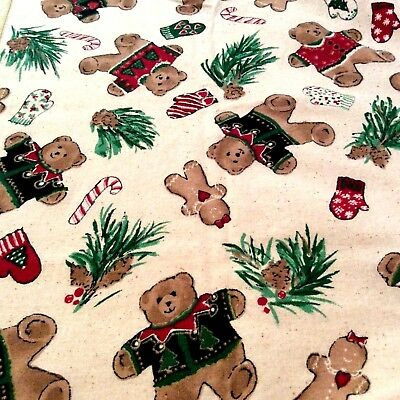 """VTG Teddy Bear Holiday Tablecloth 78"""" X 57""""  Red Multi-color Candy Cane Square"""