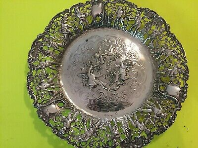 "95/8"" European Silver Antique German Cherubs Reticulated Serving Plate 392 Grams"