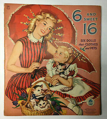 "ADORABLE! Vintage Paper Dolls  ""Sweet 6 and 16"" 1950's VGC #14"