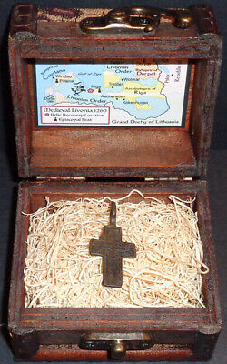 Ancient European Bronze Holy Cross Pendant Relic with Display Chest