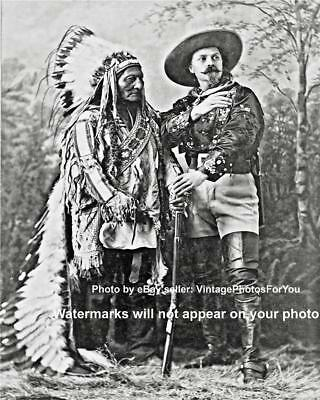 Wild/Old West Buffalo Bill Cody Rifle Native American Chief Sitting Bull Photo