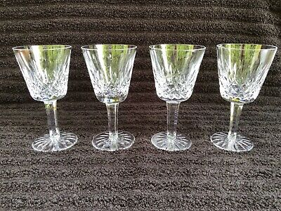 "Set of 4 Waterford Crystal Lismore Claret Wine Glasses 5 7/8"" Tall"