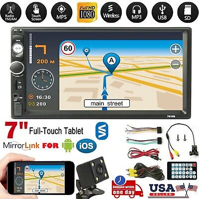 """7"""" 1080P 2 DIN Car MP5 Player Stereo Radio Wireless Touch Screen + Free Camera"""