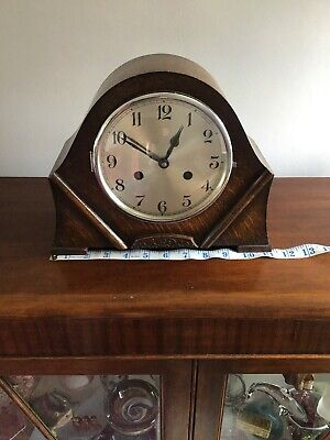 Large Art Deco Mantle Clock Foreign Movement Wooden Case Fully Working With Key
