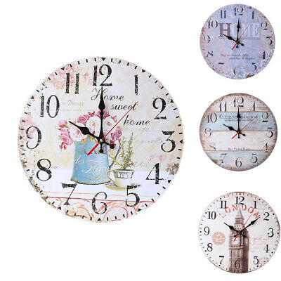 Vintage Wall Clock Wooden Home Chic Large Gift Decoration Kitchen Rustic