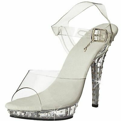 32081e5cce FABULICIOUS LIP-108SDT Rhinestones Sandals Ankle Strap Open Toe High Heels  Clear
