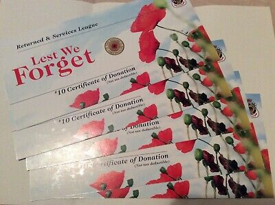 "2012 RSL Certificate Card for $2 Red Poppy Coin x 5 ""Cards Only"", no coins"