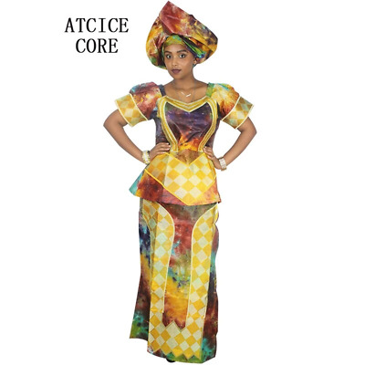 African Women Embroidered Soft Bazin Dashiki Top and Pants Set X20600