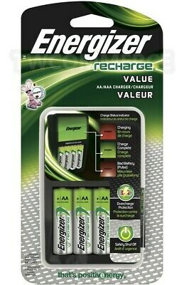 ENERGIZER RECHARGE VALUE CHARGER w/ 4 AA NiMH Rechargeable Batteries AAA