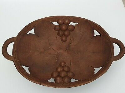 1920s Swiss Black Forest Carved Wooden Musical Bowl / Comport
