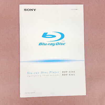Sony BDP-S300 S301 Owner's Instruction Manual Only