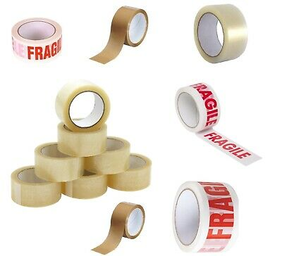 Long Length Packing Tape Strong - Brown - Clear - Fragile 48mm x 66m Parcel Tape