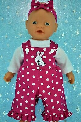 """Play n Wear Doll Clothes For 13"""" My Little Baby Born DUNGAREE~TOP~HEADBAND"""