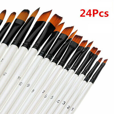 AU 24x Painting Brushes Set Brush Kit Oil Wood Watercolor Paint DIY Craft Tool