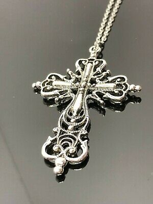 Large Ornate Cross Pendant Antique Silver Tone Filigree Women Birthday Gift
