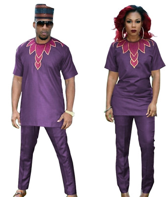 Maroon Color African Couple Clothing Man Woman Embroidery Top-Pants Same V21626