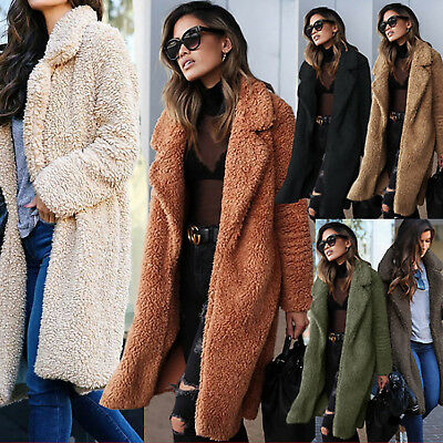 Women Teddy Bear Faux Fur Jacket Oversized Long Coat Shaggy Warm Outwear Tops