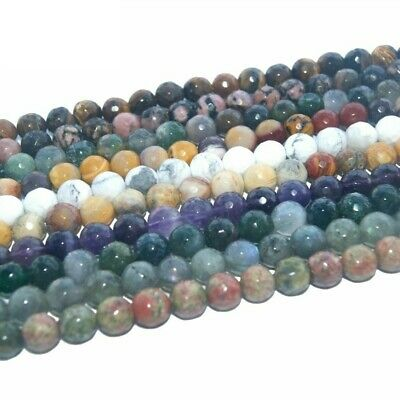 Assorted Faceted Natural Stone Bead For Jewelry Making Bracelet 4/6/8/10/12 MM