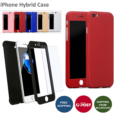 Hybrid 360 Shockproof Case Cover Tempered Glass for Apple iPhone 8 7 6 6s Plus