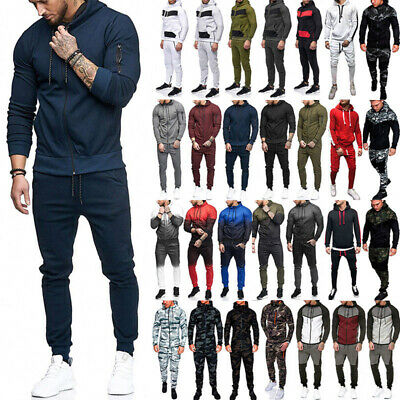 1d7874db Men Camo Tracksuit Gradient Hoodie Sweatshirt Casual Jumper Pants Set Sweat  Suit