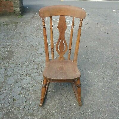 Antique Victorian Beech And Elm Rocking Chair