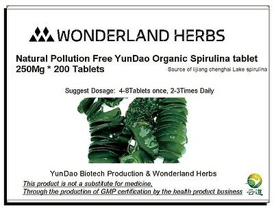 WonderLand Herbs Natural Pollution Free Spirulina tablet 200 *250mg multivitamin
