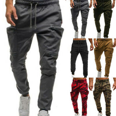 Men Elasticated Cargo Combat Trousers Jogging Camo Military Camping Army Pants