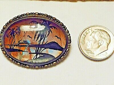 Vintage antique Art Deco pin Butterfly Wings tropical palm scene Brooch