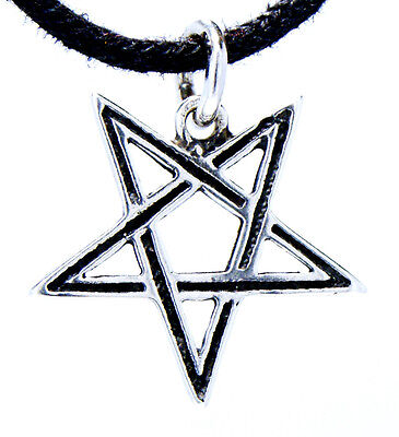 No. 51: Delicate Pentagram Satan Magic 925 Sterling Silver Pendant Incl Band