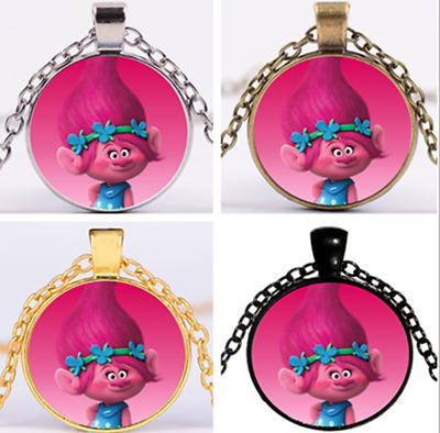 Vintage Movie Trolls Poppy Branch Glass Chain Pendant Necklace UK
