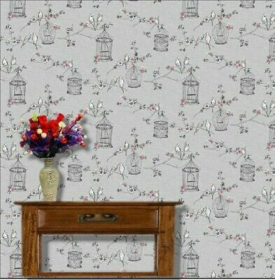 x4 Sheets 1/12th Self Adhesive Dolls House Bird Cage Wallpaper,