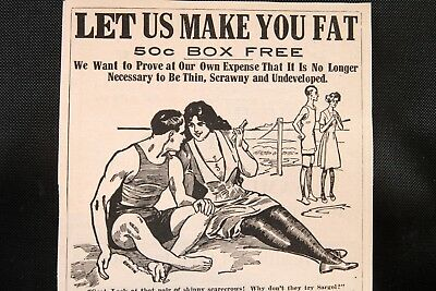 "1916 Quack Medicine Ad  Sargol ""Let Us Make You Fat""  Don't Be Thin And Scrawny"