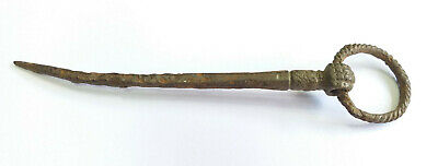 Аncient Artifact Primitive Decoration Bronze Ringed Pin Fork Vikings Kievan Rus