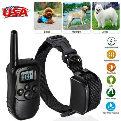 Waterproof Pet Dog Training Collar Electric Shock Rechargeable LCD Remote Train