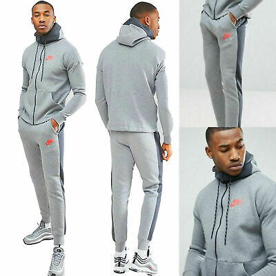 New Mens Nike Air Tracksuit Top Bottoms Fleece Hoodie Jogger Grey All Sizes