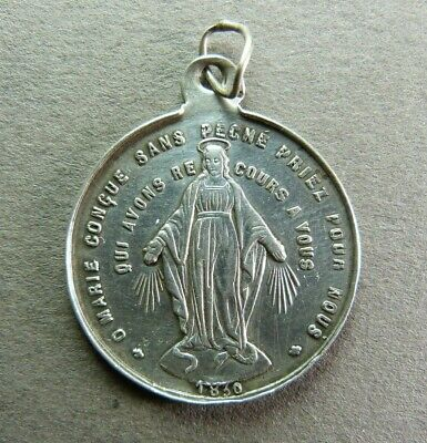 French Antique Religious Sterling Silver Pendant Virgin Mary Miraculous Medal -