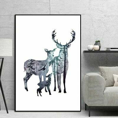 Canvas Art Painting Picture Silhouette Deer Family Pine Forest Wildlife Vertical