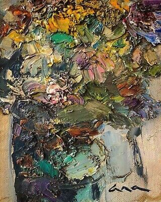 "Original abstract painting ""Flowers"" Oil on canvas board 5x7in by Anastasiya Kim"