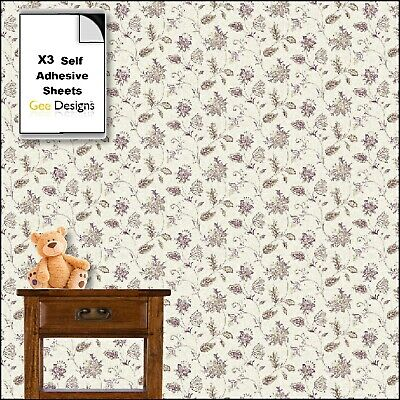 x4 Sheets 1/12th Self Adhesive Dolls House Flower Wallpaper,