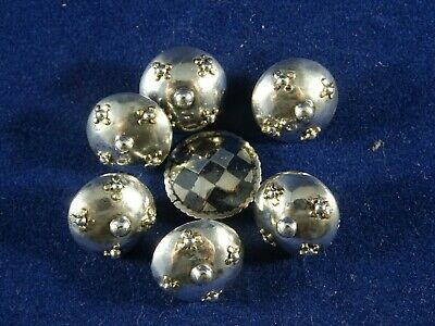 Beautiful Vintage Set of 6 Solid Continental Silver Arts & Crafts Buttons