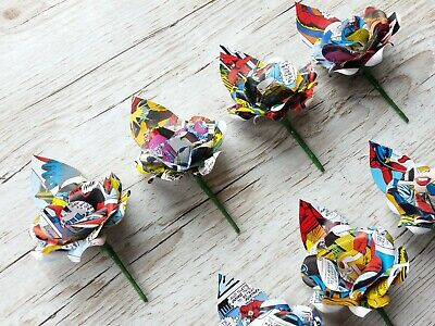 9 x Comic Book Paper Flower Rose Buttonhole/ boutonnieres - Cosplay Weddings