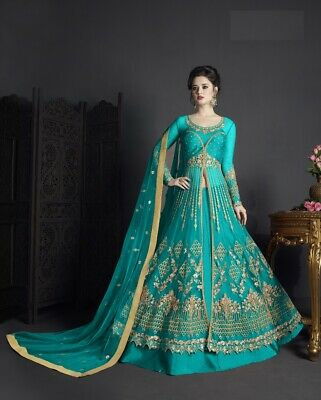 a371066d7f Indian Bollywood Designer Gown Pakistani Ethnic Party Wear Traditional Sky  Dress