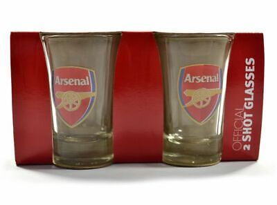 Arsenal FC Crest 2 Pack Set 2PK Shot Glasses Set Gunners New Xmas Gift