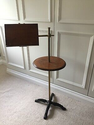 Unusual Victorian/ Edwardian music stand -mahogany and brass with cast iron base