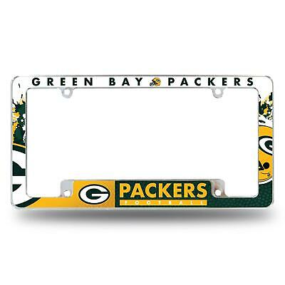 Green Bay Packers Chrome License Plate Frame All Over Tag Cover Car/Auto AFC